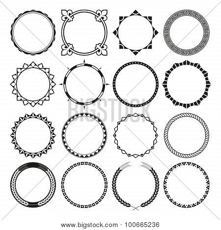 Collection of Round Decorative Border Frames with Clear Background.