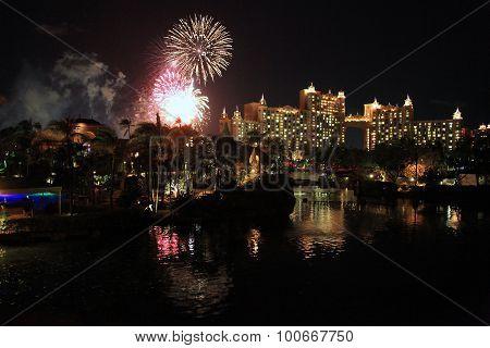 Fireworks over the Atlantis hotel in Bahamas
