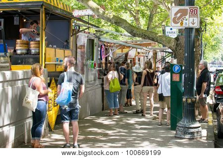 Portland, Oregon USA - July 15, 2015: Food Trucks at SW 10th and SW Alder St.