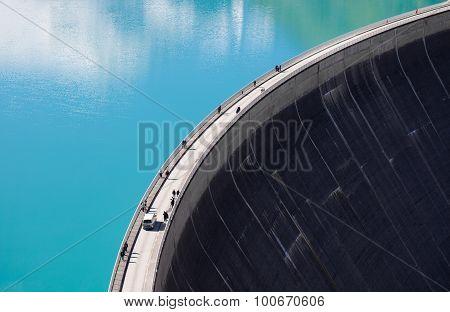 Concrete dam wall. Mooserboden high altitude reservoir near Kaprun - Zell am See Austria