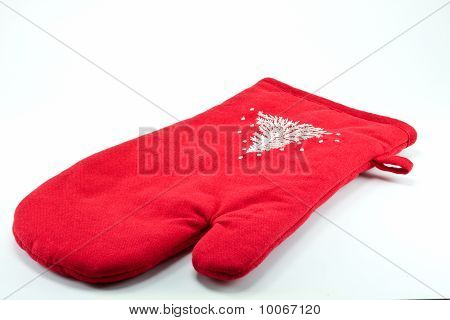 Red oven glove