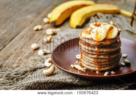 Banana Cashew Pancakes With Bananas And Salted Caramel Sauce