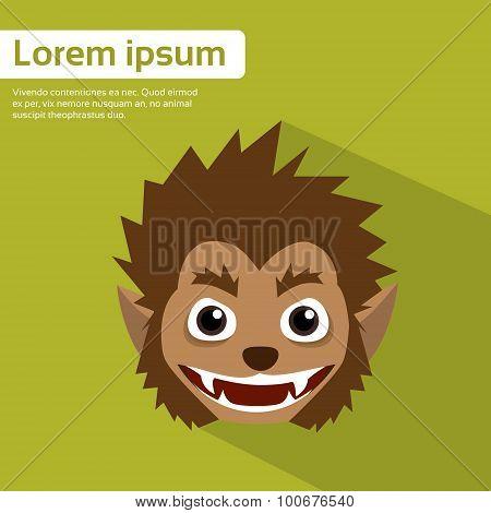 Werewolf Head Halloween Monster Wild Animal Wolf Flat Vector Illustration poster