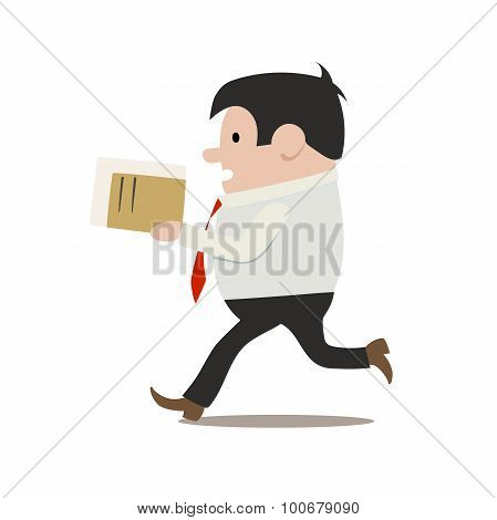 This is an isolated clerk in a hurry poster