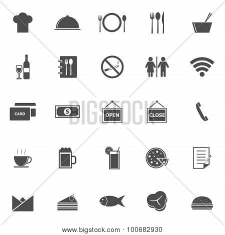 Restaurant Icons On White Background
