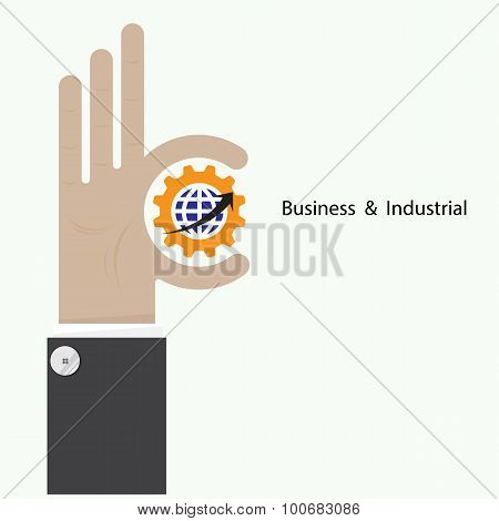 Businessman Hand Shows Target Symbol As Business Concept. Ok Hand Sign. Business And Vision Concept.