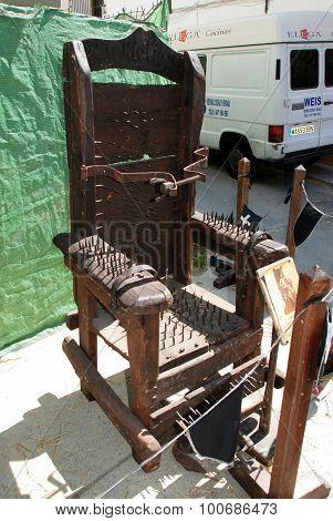 Medieval torture chair, Spain.