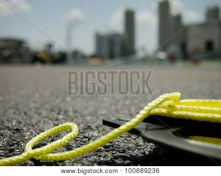 The Yellow String On The Ground At The Constructionsite
