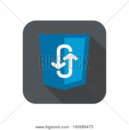 Illustration of blue shield with programming technology ajax asynchronous JavaScript, isolated web s