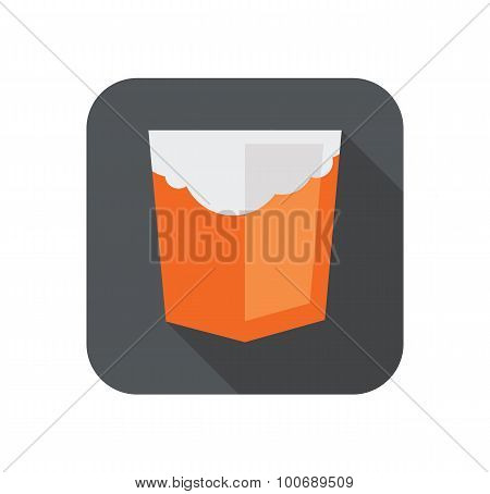 Vector illustration of orange shield with old html5 cloud badge, isolated web site development icon