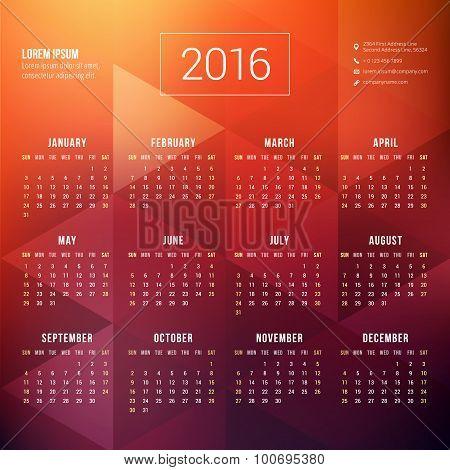 Vector Calendar Template. Calendar 2016. Week Starts Sunday