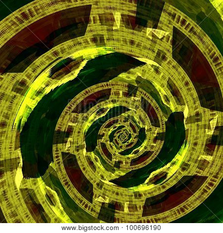 Green circular fractal artwork. Mad mind. Sci fi dimension. Fractal art style. Fancy artsy edge.