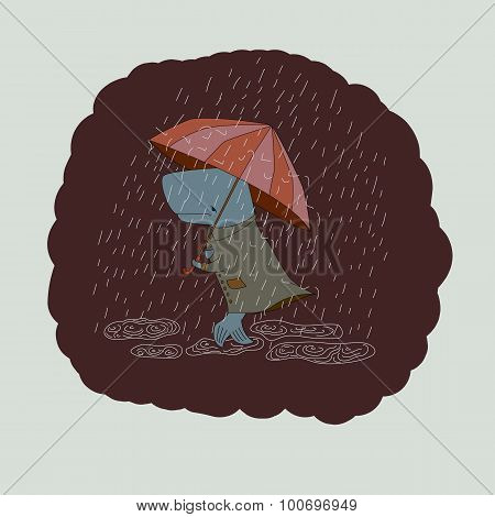 sad whale with an umbrella