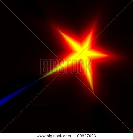 Digital shooting star fantasy. Top rank. Heat rays. Prize win. Night sky stars. Warm color. Best.
