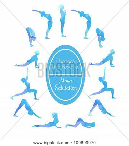 Yoga Exercise Moon Salutation