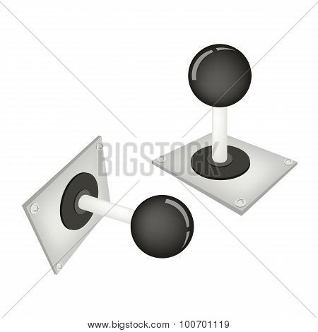 Joystick or Control Column on White Background