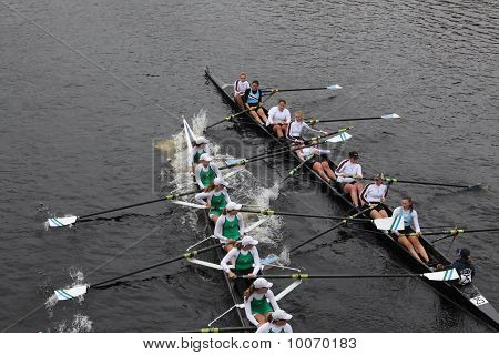 Boston - October 24: Mercyhurst And Tuft's University Women's Rowwing Collide During The Head Of The