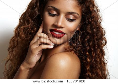 Beauty Woman With Ideal Skin Smiling And Watching Aside
