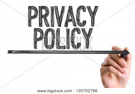 Hand with marker writing the word Privacy Policy poster