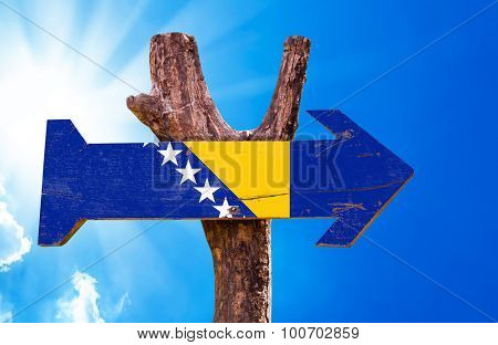 Bosnia and Herzegovina wooden sign sky background poster