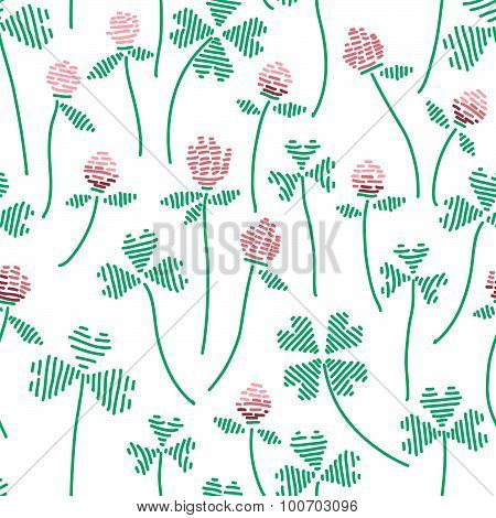 seamless pattern with clovers and flowers