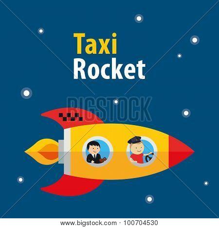 vector taxi rocket illustration