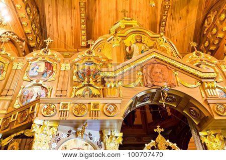 Novi Petrivtsi, Ukraine - May 27, 2015 Mezhigirya residence of ex-president of Ukraine Yanukovich. Close up of church interior inside the house