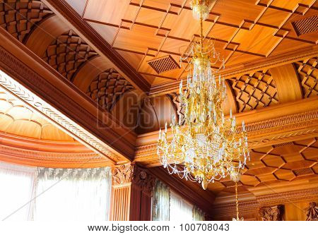 Novi Petrivtsi, Ukraine - May 27, 2015 Mezhigirya residence of ex-president of Ukraine Yanukovich. Close up of modern luxurious chandelier
