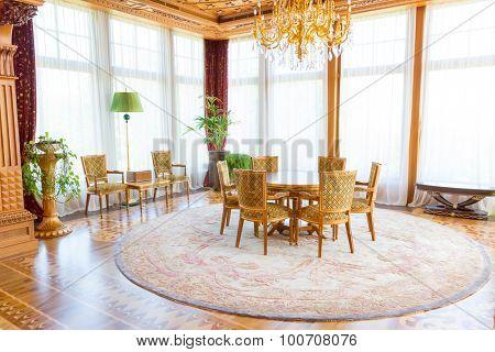 Novi Petrivtsi, Ukraine - May 27, 2015 Mezhigirya residence of ex-president of Ukraine Yanukovich. Modern interior of luxurious room of