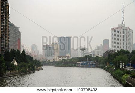 river Suzhou in center of Shanghai