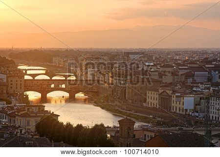 Panoramic view of Ponte vecchio - Florence , italy, Tuscany poster