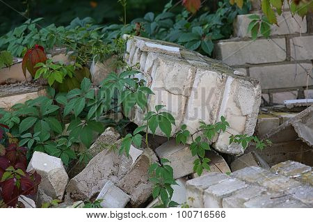 Collapsed Wall From Silicate Bricks