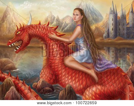 Fantasy Red dragon and beautiful princess float on water.