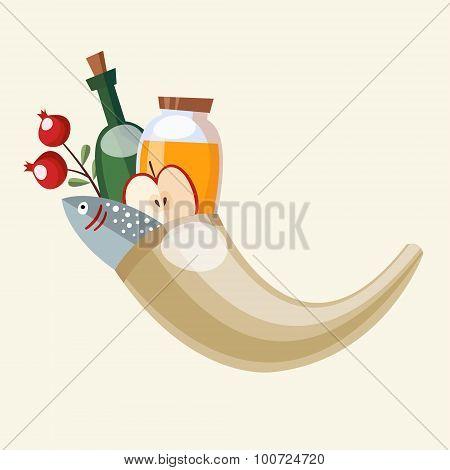 Rosh Hashanah Greeting Card, Ram's Horn Shofar, Honey, Fish, Fruit, Vector