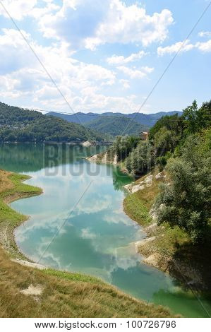 View of the Lake of Salto in Abruzzo Italy - View the coast of Lake Salto in untouched nature