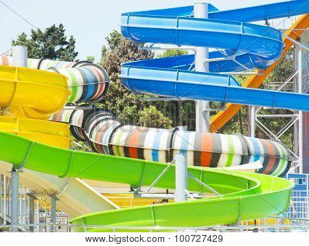 Aquapark sliders aqua park water park., entertainment poster