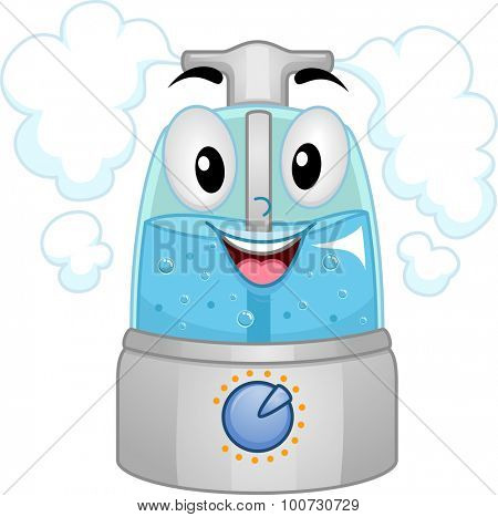 Mascot Illustration of a Humidifier Filled with Water
