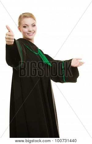 Law court or justice concept. woman lawyer attorney in classic polish black green gown making welcome inviting gesture ok hand sign isolated poster