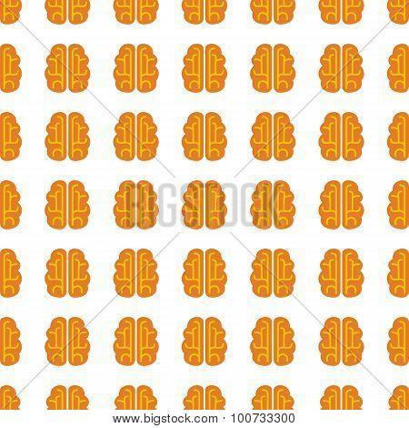 Brain Seamless Pattern. Vector