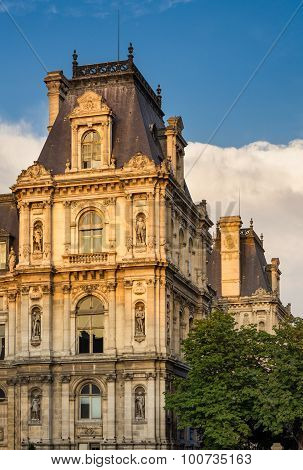 Detail Of Paris City Hall Facade Before Sunset, France