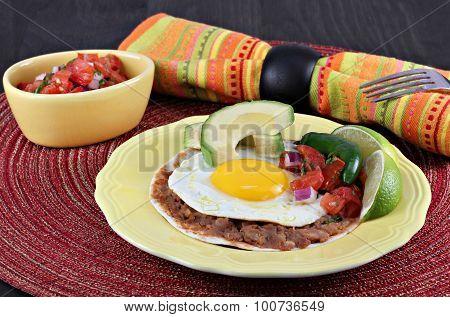 Tex Mex Huevos Rancheros, Selective Focus On Egg