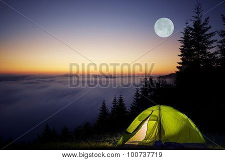 Tent Camping In A Forest