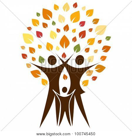 A pictographic image of a autumn family