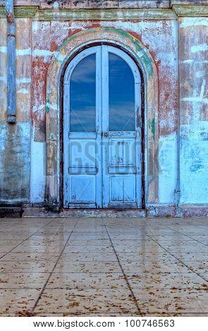 Old Blue Arch Door