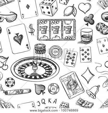 Seamless casino hand drawn pattern