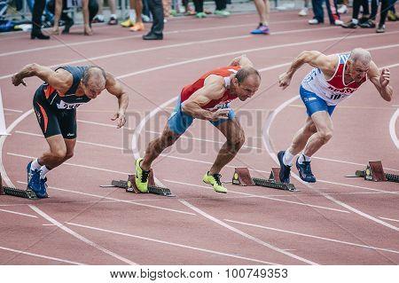old men's start at 100 meters