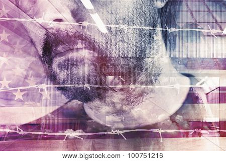 Double Exposure Portrait Of Adult Male American