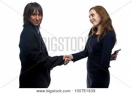 Trusting man and woman on white background poster
