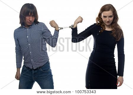 Confrontation of young man and woman