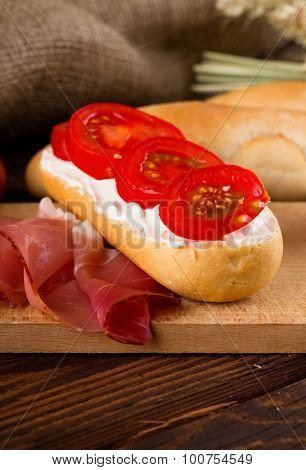 Fresh Baguete With Cottage Cheese And Tomato Slices